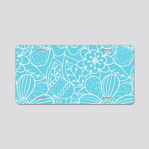 Turquoise Hand Drawn Flower Aluminum License Plate