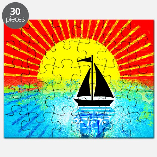 sky on fire sailboat Puzzle