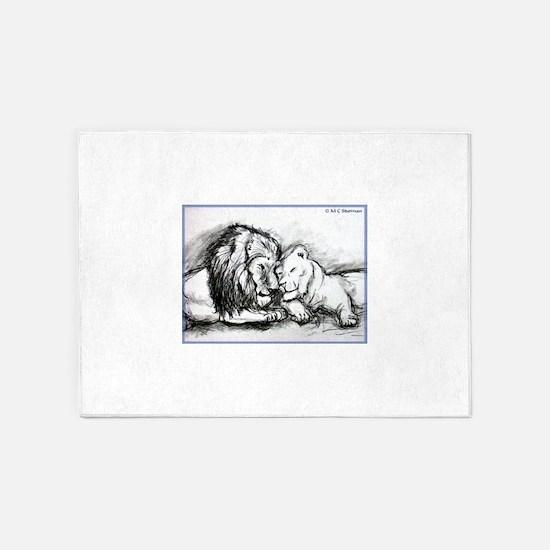 Lions! Wildlife art! 5'x7'Area Rug