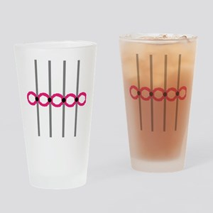 Simple Pink Rings Drinking Glass