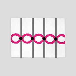 Simple Pink Rings 5'x7'Area Rug