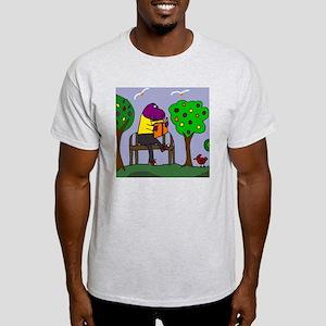 Dinosaur Reading on Park Bench Light T-Shirt