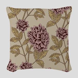 Vintage Dahlia Pattern Woven Throw Pillow