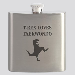 T-Rex Loves Taekwondo  Flask
