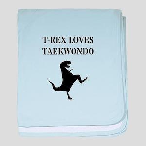 T-Rex Loves Taekwondo baby blanket
