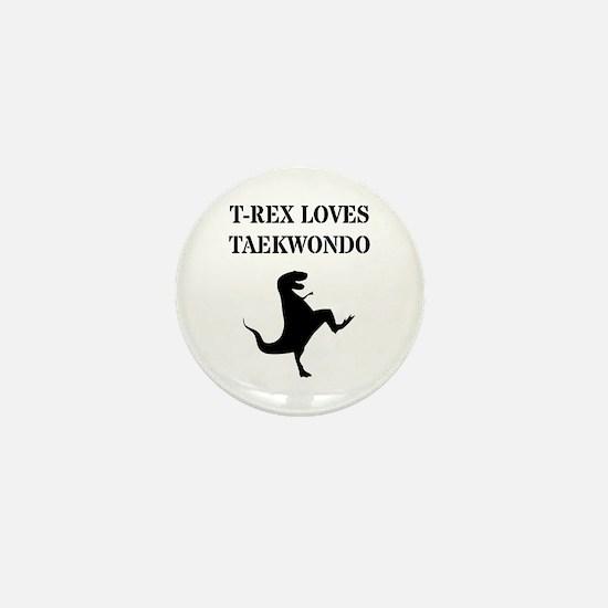T-Rex Loves Taekwondo Mini Button