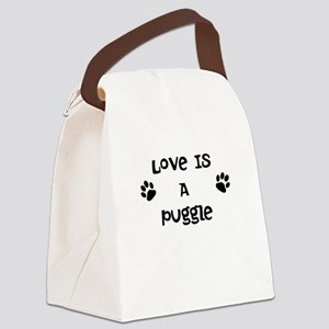 Love Puggle Canvas Lunch Bag