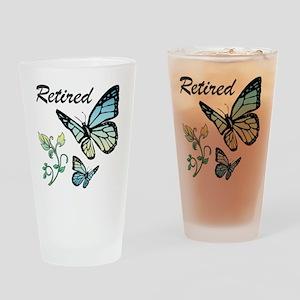 Retired w/ Butterflies Drinking Glass