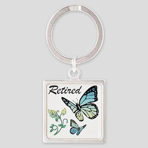 Retired w/ Butterflies Square Keychain