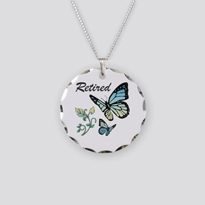 Retired w/ Butterflies Necklace Circle Charm