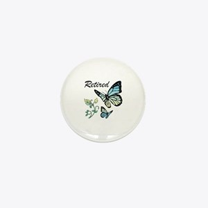 Retired w/ Butterflies Mini Button