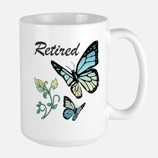 Retired w/ Butterflies Large Mug