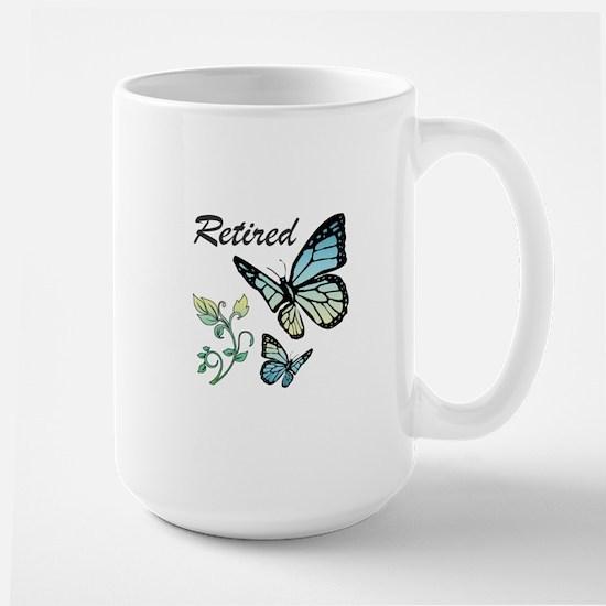 Retired w/ Butterflies Large Mug