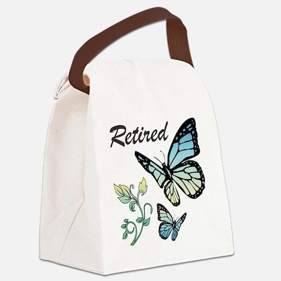 Retired w/ Butterflies Canvas Lunch Bag