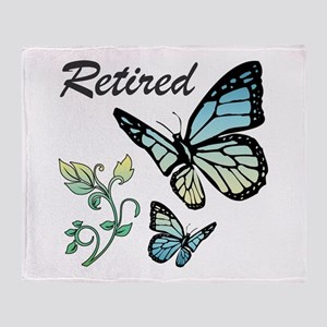 Retired w/ Butterflies Throw Blanket