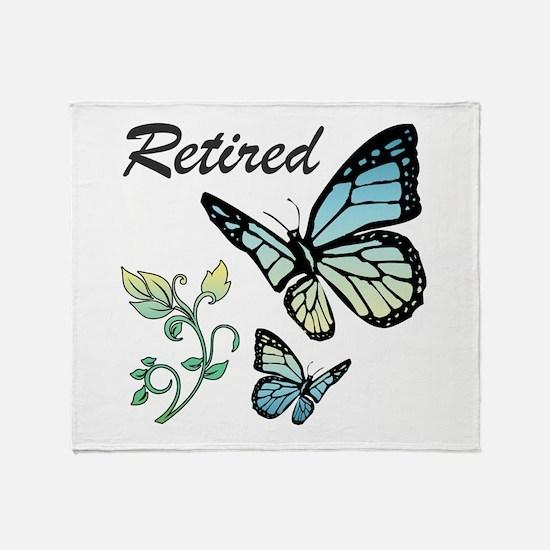 Retired w/ Butterflies Throw Blanket