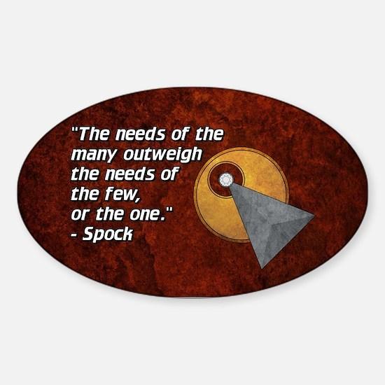 SPOCK NEEDS MANY Sticker (Oval)
