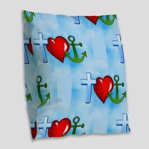 jesus anchor Burlap Throw Pillow