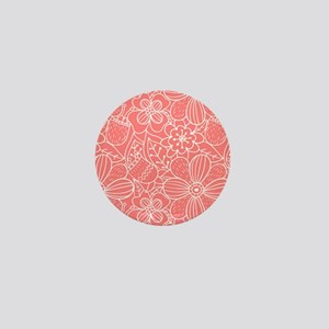Coral Hand Drawn Flower Outline Patter Mini Button