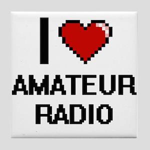 I Love Amateur Radio Digital Design Tile Coaster