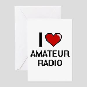 I Love Amateur Radio Digital Design Greeting Cards