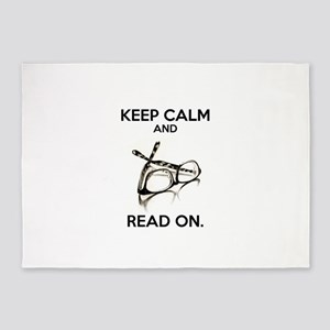 Keep Calm and Read On Glasses 5'x7'Area Rug