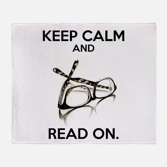 Keep Calm and Read On Glasses Throw Blanket