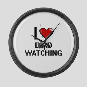 I Love Bird Watching Digital Desi Large Wall Clock