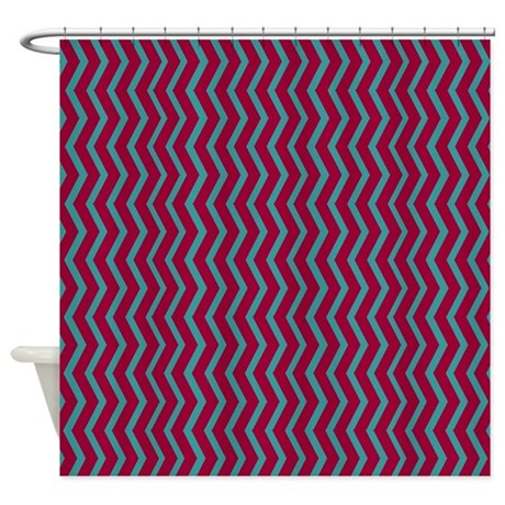 Attractive Ruby Red Chevron Shower Curtain