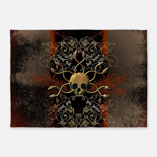 Skull with snakes 5'x7'Area Rug