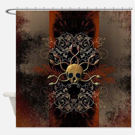 Skull with snakes Shower Curtain