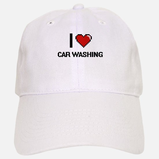 I Love Car Washing Digital Design Baseball Baseball Cap