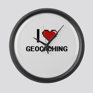 I Love Geocaching Digital Design Large Wall Clock