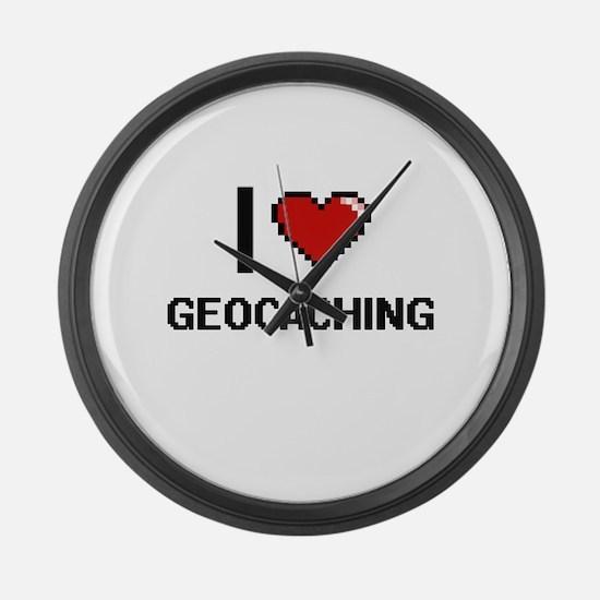I Love Geocaching Digital Design Large Wall Clock