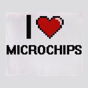 I Love Microchips Digital Design Throw Blanket