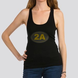 2A Oval Dark Olive/HE Yellow Racerback Tank Top