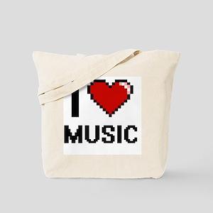 I Love Music Digital Design Tote Bag