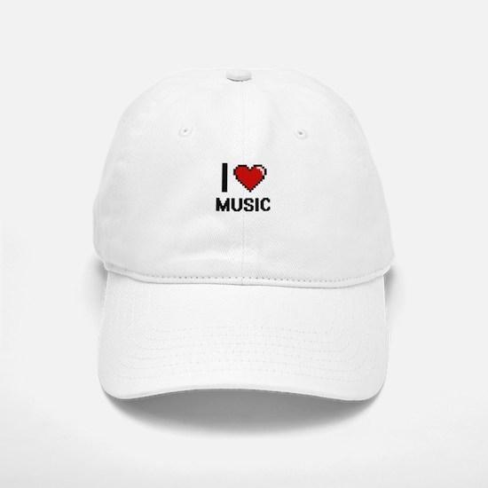 I Love Music Digital Design Baseball Baseball Cap