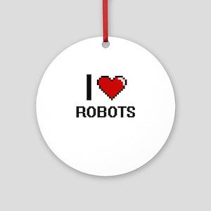 I Love Robots Digital Design Round Ornament