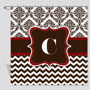 Letter C Brown And Red Color Damask Shower Curtain