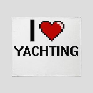 I Love Yachting Digital Design Throw Blanket