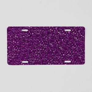 Sparkling Glitter, plum Aluminum License Plate