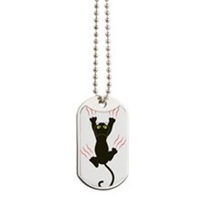 Clawing Black Cat Dog Tags