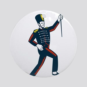 Drum Major Marching Band Leader Woodcut Round Orna