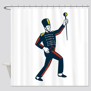 Drum Major Marching Band Leader Woodcut Shower Cur