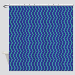 Blue on Blue Chevron Shower Curtain