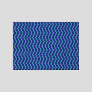Blue on Blue Chevron 5'x7'Area Rug