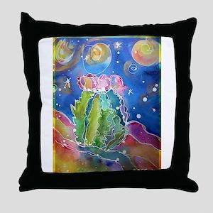 cactus at night! soutwest art! Throw Pillow