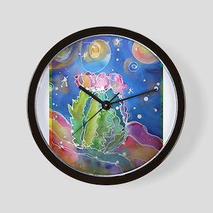 cactus at night! soutwest art! Wall Clock