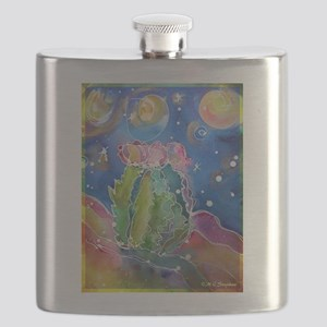 cactus at night! soutwest art! Flask